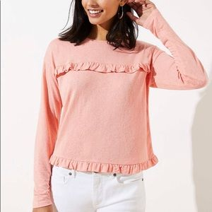 Loft Cropped Ruffled Tee Coral Size Large